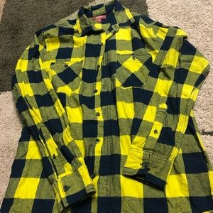 Men's navy blue and yellow plaid button up